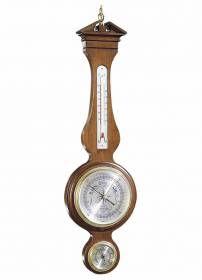 612712 Howard Miller thermometer, barometer, and hygrometer wall Clock-A thermometer, barometer, and hygrometer are encased in a handsome hardwood frame.