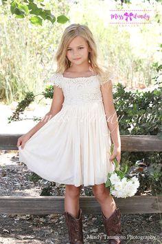 0aacf75257af3 Country Flower Girl Dress Rustic Ivory /Cream by MissDandyAtelier Bohemian  Flower Girl Dress, Beach