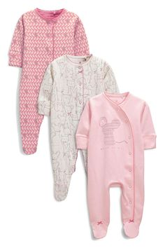 0e08958f9 Buy Three Pack Pink Character Sleepsuits from the Next UK online shop