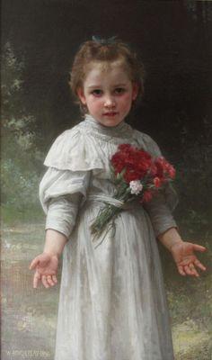 "artist-bouguereau: "" Yvonne, 1896, William-Adolphe Bouguereau Size: 90.81x55.88 cm Medium: oil, canvas"""