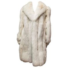 Preowned Ivory Spotted Fox Fur Coat ($1,450) ❤ liked on Polyvore featuring outerwear, coats, jackets, tops, white, fox fur coat, long white coat, long fox fur coat, polka dot coat and ivory coat