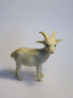Wonderful Vintage Real Goat Fur Billy Goat Figurine figure with Glass Eyes Country Farm Animal