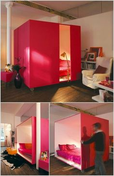 It's a bedroom cubicle, but I would turn one side into a projector screen and use it like a room divider.