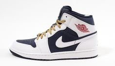 Jordan Air Jordan 1 Mid Olympic Obsidian / Gym Red