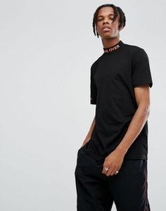 ASOS Longline T-Shirt With Printed Turtle Neck