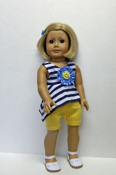 American Girl doll clothes - shorts and top - 18 inch doll clothes