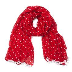 Red and white polka dot pom pom scarf.