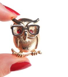 Vintage Owl Brooch - Gold Tone Tiny 1970s Signed Sarah Coventry Costume Jewelry / Hipster Glasses Hoot.