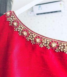 No automatic alt text available. Simple Embroidery Designs, Kurti Embroidery Design, Simple Blouse Designs, Hand Work Blouse Design, Hand Work Embroidery, Embroidery Fabric, Floral Embroidery, Simple Designs, Embroidery Patterns
