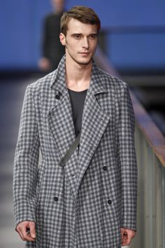 "Clement Chabernaud modelling for Josep Abril FW14/15. Beautiful grey palette checked  coat from ""Reflections"" Col. at 080 Barcelona Fashion week"