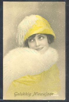 NL034-ART-DECO-HIGH-FASHION-LADY-FEATHER-HAT-SNOW-KITSCH-Tinted-PHOTO-pc-AMAG