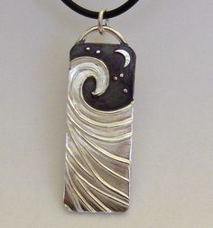 Perfect Wave Silver necklace smooth ocean under the moon and stars - Made to Order- on Etsy, $185.00