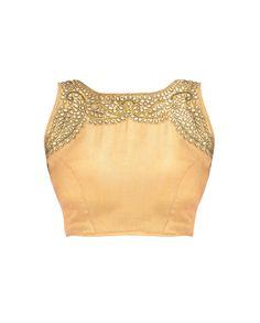 Golden Blouse with Kundan Stones