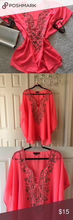 Swim Suit Cover Up This cover up, in a vibrant color of orange, is made of a sheer fabric, and is light and airy.  The embroidery is in taupe with turquoise colored beads. Worn only a few times. Club Z Collection Swim Coverups