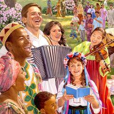 Personas de todas las razas juntas y felices en el futuro paraíso en la Tierra