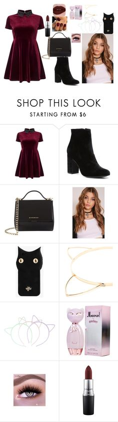 """""""my style"""" by laderriagilyard9 ❤ liked on Polyvore featuring Miss Selfridge, Witchery, Givenchy, Valfré, Hot Topic and MAC Cosmetics"""