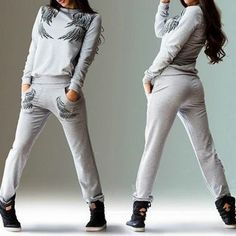 Buy Rebecca Set : Wings Print Sweatshirt + Sweatpants at YesStyle.com! Quality products at remarkable prices. FREE WORLDWIDE SHIPPING on orders over CA$ 45.