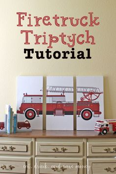 Make your own triptych artwork for a fraction of the Pottery Barn prices. This is so simple! Perfect for a little boy firetruck bedroom. Or change it up and make a triptych for anything you want. This triptych tutorial is so easy! DIY Firetruck Triptych Artwork http://eatdrinkandsavemoney.com/2016/03/28/diy-firetruck-triptych-artwork/