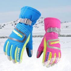 Skiing Gloves Learned 2pcs Waterproof Ski Gloves Children Winter Warm Boys Girls Sports Windproof Non-slip Snow Mittens Extended Wrist Skiing Gloves 100% Original