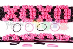 This variation of the name bracelet was provided by Suzanne King on Rainbow Loom Murals and Pics facebook page.  Try using official rainbow loom brands for the best results and you can download the blank name bracelet template at http://www.justinstoys.com/rainbow-loom-stuff/rainbow-loom-template/rainbow-loom-puffy-name