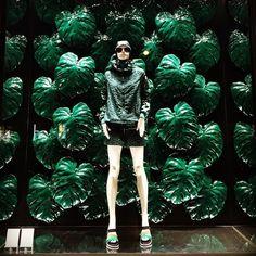 "MONCLER,Boulevard Saint-Germain, Paris,France, ""Pour une ambiance camouflage dans la jungle"",(for camouflage in the jungle atmosphere), pinned by Ton van der Veer"