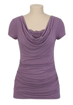 Drape Front Top with Lace
