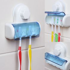 2017 Toothbrush Spinbrush Plastic Suction 5 Toothbrush Holder Wall Mount Stand Rack Home Bathroom Accessories #Affiliate