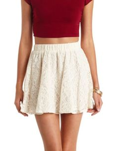 High-Waisted Lace Skater Skirt: Charlotte Russe