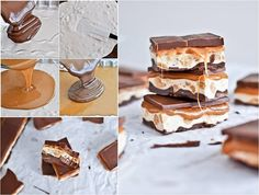 snickers bars recipe- if you line the dish with plastic wrap (make sure they fold over the sides) before pouring the first layer, makes it super easy to remove.