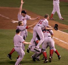 """Magic Moments: The Boston Red Sox win the World Series in 2004. Winning for the first time since 1918, ending the """"Curse of the Bambino"""""""