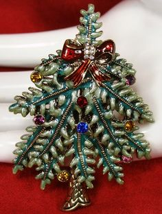 1st Annual 2004 Avon Enamel Rhinestone Christmas Tree Brooch Pin EX Cond | eBay