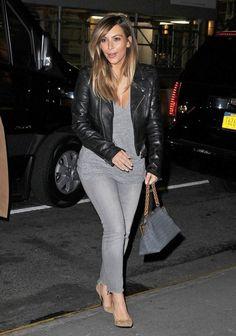 Kim Kardashian wearing Black Orchid Jewel Skinny Jean in Ice Saint Laurent  Paris Pointed Suede Pump 75a247abd7da