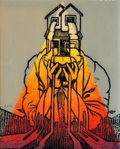 Reuben Kambeitz -  HOME FLAG VII, 2015 Acrylic & Archival Ink Linocut on Paper Epoxy Overcoat 10˝ × 8˝