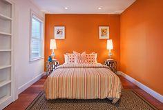 orange and yellow bedroom ideas | Attractive Orange Bedroom