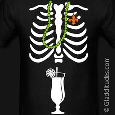 Mardi Gras skeleton t-shirt Ribcage with fleur de lis heart, mardi gras beads and a New Orleans Hurricane cocktail on the belly :)