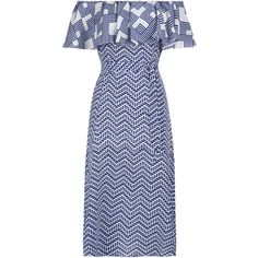 Zig-Zag Off The Shoulder Dress ($405) ❤ liked on Polyvore featuring dresses, off shoulder dress, zigzag dress, blue dress, blue zig zag dress and silk dress