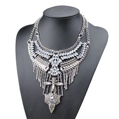 vintage necklace fashion bohemian style alloy wing shaped cross crystal necklace choker statement necklace for women-in Chain Necklaces from Jewelry on Aliexpress.com | Alibaba Group