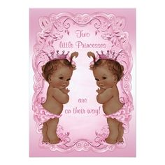 Classic Ethnic Princess Twins Child Bathe Pink Card. >>> See more at the photo link