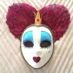 Queen of hearts, Tim Burton inspired, Venetian style mask, handmade, wearable, wall deco, mardi grass, masquerade costume mask by EthnicDrops on Etsy https://www.etsy.com/listing/387064802/queen-of-hearts-tim-burton-inspired