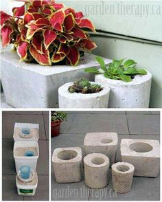 Recycle your containers into concrete planters, thanks DIY! Concrete Crafts, Concrete Projects, Concrete Planters, Diy Planters, Planter Pots, Cement Art, Pot Jardin, Cactus Y Suculentas, Craft Sale