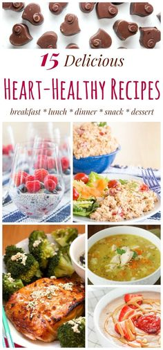 25 Heart-Healthy Recipes - Easy Meals for Heart Health - Cupcakes & Kale Chips - 15 Delicious Heart-Healthy Recipes for breakfast, lunch, dinner, snacks, and dessert. Make a meal # - Heart Healthy Breakfast, Heart Healthy Desserts, Heart Healthy Diet, Healthy Snacks For Diabetics, Heart Healthy Recipes, Healthy Breakfast Recipes, Lunch Recipes, Healthy Eating, Clean Eating
