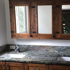 Arched Barnwood Vanity Package with Sink Faucet and Top Reclaimed Wood Vanity, Reclaimed Wood Beds, Rustic Vanity, Diy Pallet Furniture, Large Furniture, Wood Furniture, Long Island, Gates, Barnwood Doors