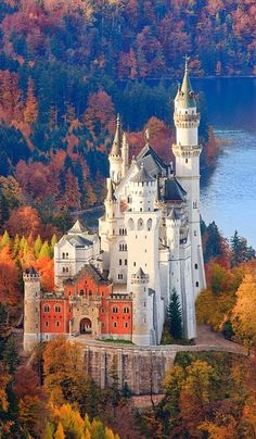 Neuschwanstein Castle in Allgau, Bavaria, Germany *