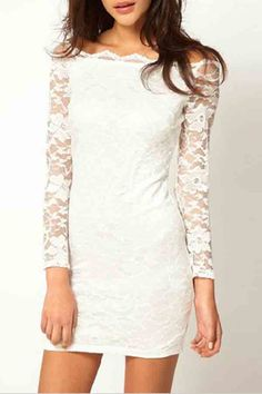 Would be perfect for rehearsal dinner. White+Off+Shoulder+Long+Sleeve+Lace+Dress+#White+#Dress+#maykool