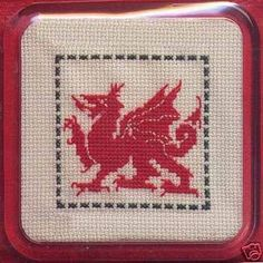 cross stitch dragons | Textile Heritage WELSH DRAGON Coaster Cross Stitch Kit