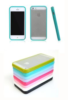 BUMPER Case with Matte Clear Back Cover for Apple iphone 5 / iphone 5s - Turquoise www.myphonecase.com #iphone5, #iphone5s, #bumpercase $2.85