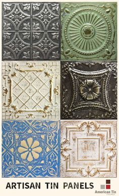 Artisan Tin Panels from American Tin Ceilings for backsplashes, ceilings, walls, commercial and DIY projects - Learn More: http://www.americantinceilings.com/resources/artisan-finishes.html?utm_source=pinterest&utm_medium=social&utm_campaign=samples&cpao=138&cpca=pinterest&cpag=social&kw=samples: