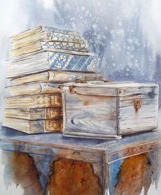 livres et coffre 58x68