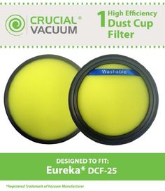 Eureka DCF-25 Filter; Fits SuctionSeal (AS1100 Series), Endeavor NLS (5400 Series), Nimble (EL8600 Series); Compare to Part # DCF25, 67600, 82982-2; Designed & Engineered by Crucial Vacuum  HIGH QUALITY AIR FILTER that can replace your Eureka DCF-25 HEPA Filter. Get back to having a clean air to breathe again! This filter fits Eureka SuctionSeal (AS1100 Series), Endeavor NLS (5400 Series), Nimble (EL8600 Series) Vacuums.HEALTHIER LIFESTYLE! No one wants breathe dirty air in their ho..