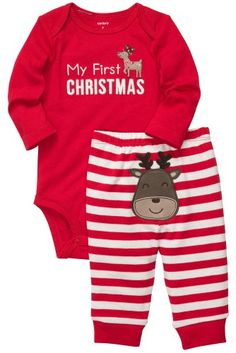 Carter's My First Christmas Bodysuit Pant Set (Newborn) Set includes long-sleeve bodysuit and pull-on pants. Babies First Christmas, Christmas Baby, Christmas Outfits, Christmas Morning, Christmas Pyjamas, Christmas Onesie, Christmas Ideas, Xmas, My Baby Girl